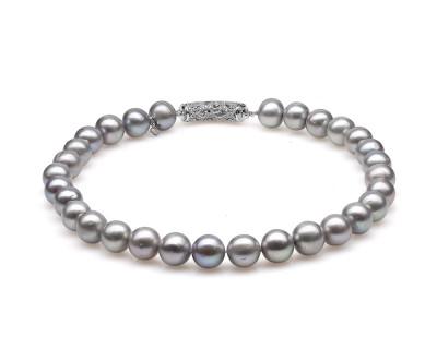 Ожерелье из 30 жемчужин из серебристого речного жемчуга. Жемчужины 12-13 мм