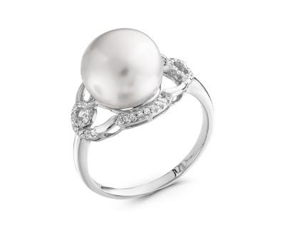 Кольцо из серебра с белой речной жемчужиной 11,5 мм