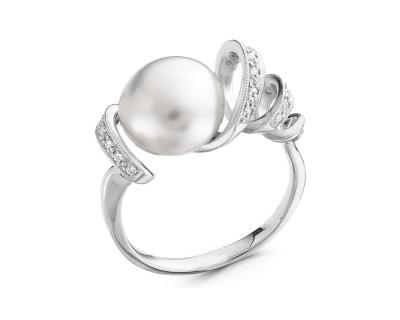 Кольцо из серебра с белой речной жемчужиной 11-11,5 мм