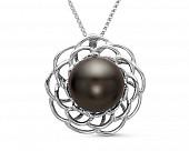 Кулон из серебра с черной морской Таитянской жемчужиной 11 мм