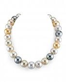 """Ожерелье """"микс"""" из круглого морского Австралийского и Таитянского жемчуга 11-12,1 мм"""