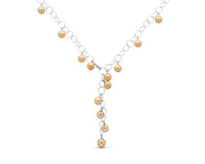 Колье из серебра с золотистыми морскими Австралийскими жемчужинами 11-11,5 мм