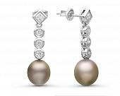 Серьги из серебра c серебристыми морскими Таитянскими жемчужинами 9-9,5 мм