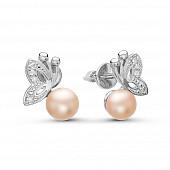 """Серьги """"Бабочки"""" из серебра с розовыми речными жемчужинами 5,5-6 мм"""