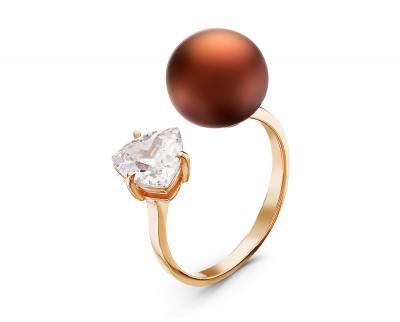 """Кольцо """"Диор"""" из серебра с шоколадной речной жемчужиной 10-10,5 мм"""