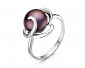 Кольцо из серебра с черной речной жемчужиной 9,5-10 мм