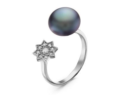 """Кольцо """"Диор"""" из серебра с черной речной жемчужиной 8,5-9 мм"""
