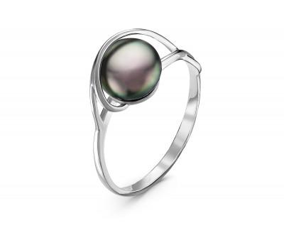 Кольцо из серебра с черной речной жемчужиной 8-8,5 мм