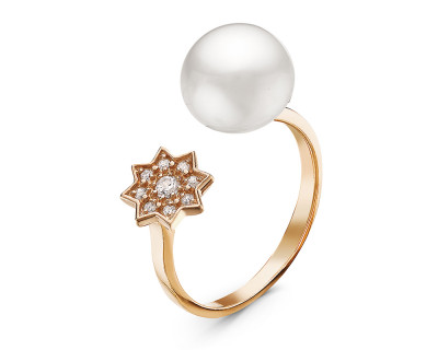 """Кольцо """"Диор"""" из серебра с белой речной жемчужиной 8,5-9 мм"""