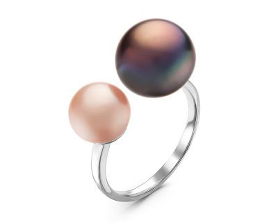 """Кольцо """"Диор"""" из серебра с розовой и черной речными жемчужинами 7-10 мм"""