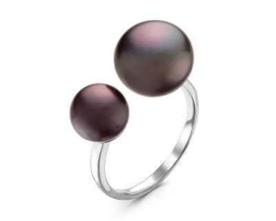 """Кольцо """"Диор"""" из серебра с черными речными жемчужинами 7-10 мм"""