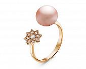 Кольцо из серебра с розовой речной жемчужиной 8,5-9 мм