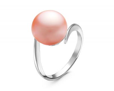Кольцо из серебра с розовой речной жемчужиной 10,5-11 мм