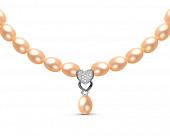 Ожерелье из розового речного жемчуга с подвеской из серебра. Жемчужины 6-6,5 мм