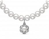 Ожерелье из белого круглого жемчуга с подвеской из серебра. Жемчужины 6-6,5 мм