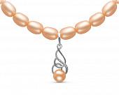 Ожерелье из розового речного жемчуга с подвеской из серебра. Жемчужины 7,5-8 мм