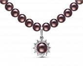 Ожерелье из черного речного жемчуга с кулоном из серебра. Жемчужины 7-7,5 мм