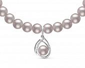 Ожерелье из серебристого речного жемчуга с кулоном из серебра. Жемчуг 7-7,5 мм