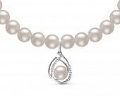 Ожерелье из белого речного жемчуга с подвеской из серебра. Жемчужины 8-8,5 мм