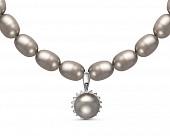Ожерелье из серого рисообразного жемчуга с кулоном из серебра. Жемчужины 9-10 мм