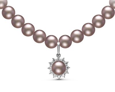 Ожерелье из серого речного жемчуга с подвеской из серебра. Жемчужины 8-8,5 мм