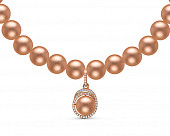 Ожерелье из розового круглого жемчуга с подвеской из серебра. Жемчужины 9-10 мм