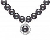 Ожерелье из черного речного жемчуга с подвеской из серебра. Жемчужины 9-10 мм