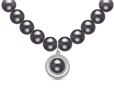 Ожерелье из черного речного жемчуга с подвеской из серебра. Жемчужины 8,5-9,5 мм
