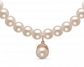Ожерелье из белого речного жемчуга с подвеской из серебра. Жемчужины 8,5-9,5 мм