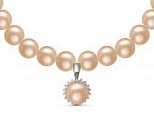 Ожерелье из розового круглого жемчуга с кулоном из серебра. Жемчужины 8,5-9,5 мм