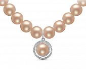 Ожерелье из розового круглого жемчуга с подвеской из серебра. Жемчужины 8,5-9,5 мм