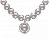 Ожерелье из серого круглого жемчуга с кулоном из серебра. Жемчужины 8,5-9,5 мм
