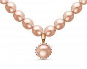 Ожерелье из розового речного жемчуга с подвеской из серебра. Жемчуг 7,5-8 мм