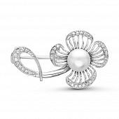 """Брошь """"Цветок"""" из серебра с белой речной жемчужиной 7,5-8 мм"""