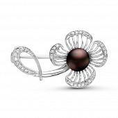 """Брошь """"Цветок"""" из серебра с черной речной жемчужиной 7,5-8 мм"""