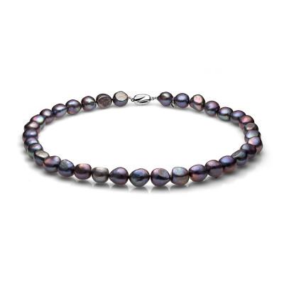 Ожерелье из черного барочного речного жемчуга. Жемчужины 11-12 мм