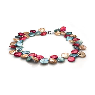 """Ожерелье """"микс"""" из цветного барочного речного жемчуга. Жемчужины 11-12 мм"""