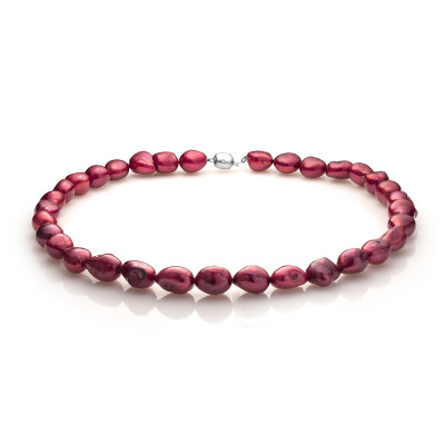 Ожерелье из красного барочного речного жемчуга. Жемчужины 11-12 мм.