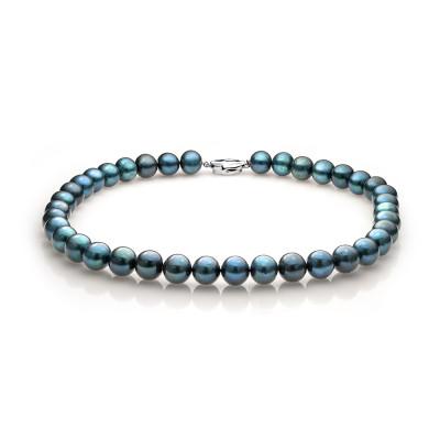 Ожерелье из синего круглого речного жемчуга. Жемчужины 10,5-11,5 мм