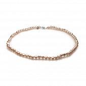 Ожерелье из розового барочного речного жемчуга. Жемчужины 6-7 мм