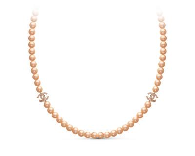 Колье из розового круглого жемчуга со вставками из серебра. Жемчужины 7-7,5 мм