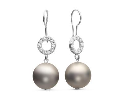 """Серьги из серебра с серебристыми жемчужинами """"Майорика"""" 12 мм"""