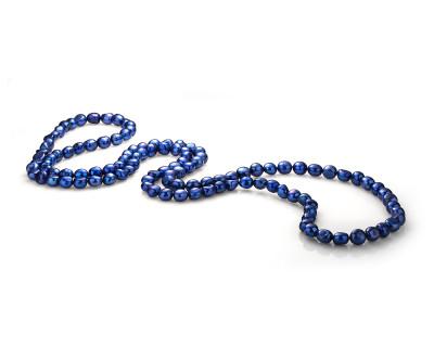 Длинные бусы из синего барочного речного жемчуга. Жемчужины 11-12 мм