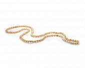 Длинные бусы из золотистого барочного речного жемчуга. Жемчужины 10-11 мм