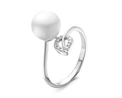 Кольцо из серебра с белой речной жемчужиной 8,5-9 мм