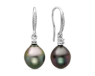 Серьги из серебра c черными морскими Таитянскими жемчужинами 10,6-10,9 мм