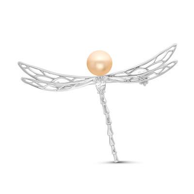 """Брошь """"Стрекоза"""" из серебра с розовой речной жемчужиной 7,5-8 мм"""