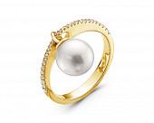 Кольцо из желтого золота с белой морской жемчужиной Акойя 8-8,5 мм