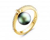 Кольцо из желтого золота с черной морской Таитянской жемчужиной 10-10,5 мм