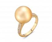Кольцо из желтого золота с золотистой морской Австралийской жемчужиной 13-13,5 мм